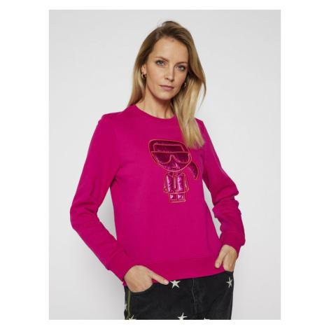 KARL LAGERFELD Bluza Ikonik Puffer 210W1806 Różowy Regular Fit