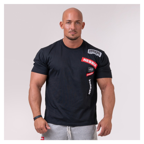 NEBBIA Męski T-shirt Logo Tapping Black