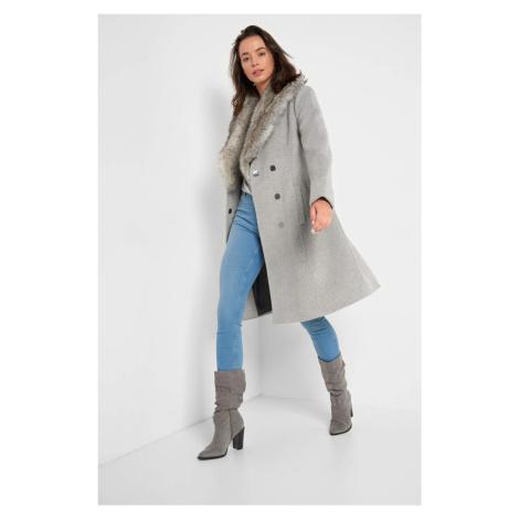Wełniany płaszcz z paskiem Orsay