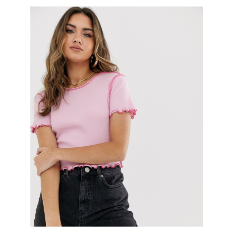 ASOS DESIGN short sleeve crop t-shirt with contrast stitch in pink
