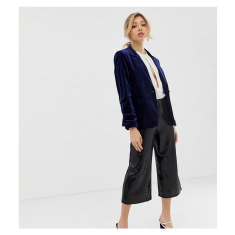 Miss Selfridge Petite wide leg trousers in black glitter