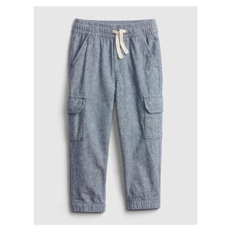 GAP niebieski chłopięce spodnie Linen Cargo