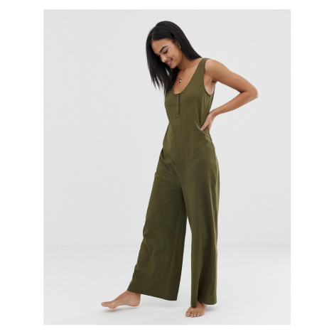 ASOS DESIGN lounge wide leg jumpsuit with buttons