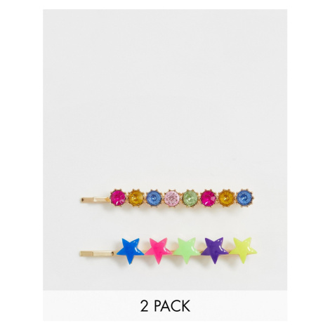 ASOS DESIGN pack of 2 hair clips in multicolour star and jewel design