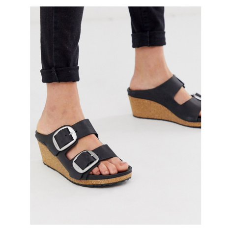 Birkenstock Nora Big Buckle Wedge Sandals in black