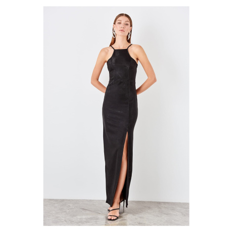 Trendyol Black slit detailed evening dress