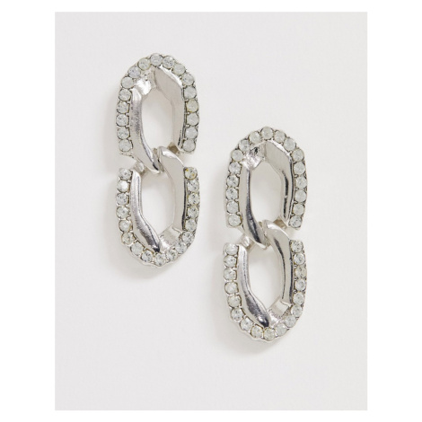 ASOS DESIGN earrings in crystal hardware chain drop in silver tone