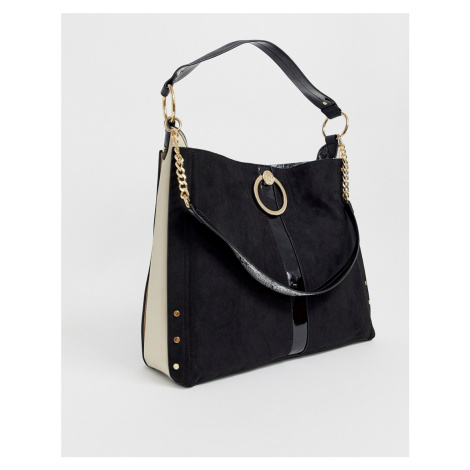 River Island slouch bag with ring detail in black