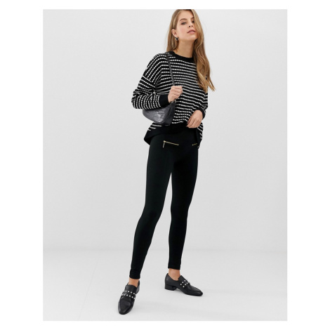 QED London double zip leggings in black