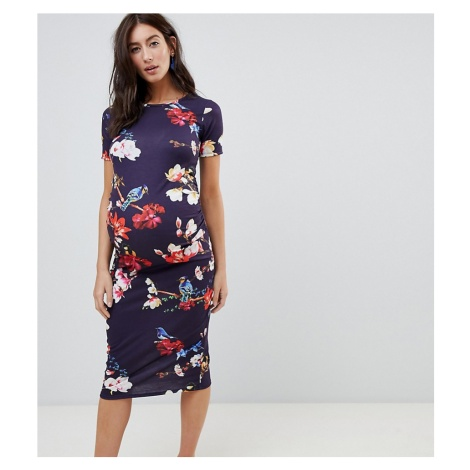 Bluebelle Maternity short sleeve bodycon dress in floral