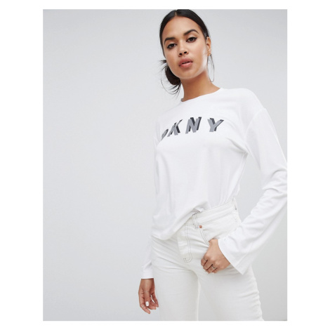 DKNY boxy fit long sleeve reflective logo t shirt