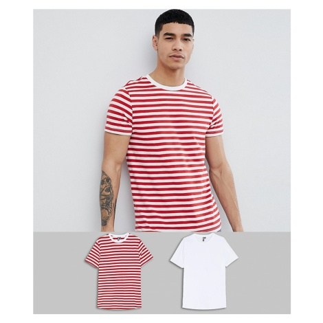 ASOS DESIGN organic cotton red stripe/plain white t-shirt 2 pack SAVE