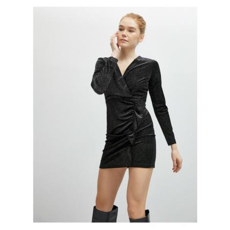 Koton Damska czarna bluzka z dekoltem w serek z długim rękawem z metalicznym krótkimi sukienkami