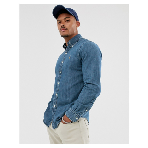 Polo Ralph Lauren slim fit shirt in blue denim with player logo