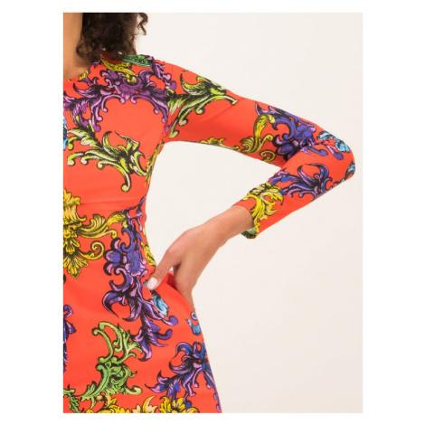 Versace Jeans Couture Sukienka codzienna D2HUB432 Pomarańczowy Slim Fit