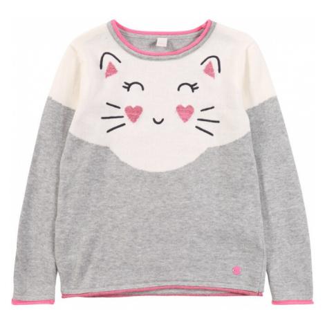 ESPRIT Sweter 'PULLI' szary / biały / różowy