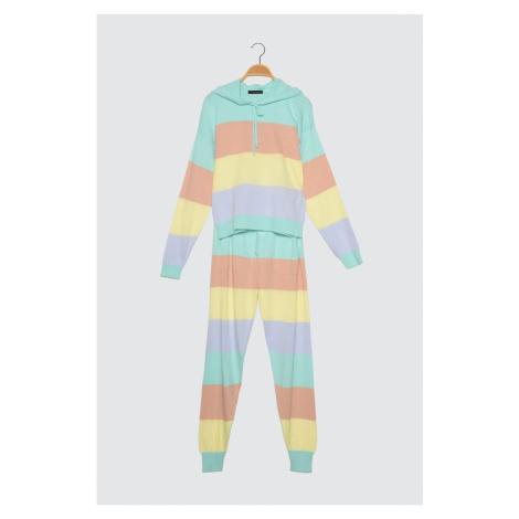 Trendyol Colorblock Bluza z kapturem Spodnie Dzianiny Dolny-Top Garnitur