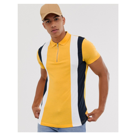 ASOS DESIGN polo shirt with vertical panels and zip neck in yellow