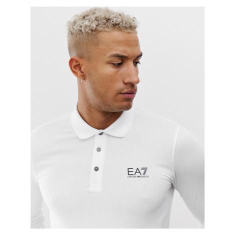 EA7 logo long sleeve polo in white Armani