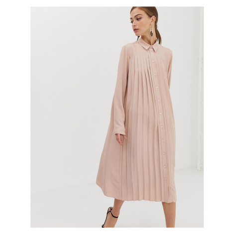 ASOS DESIGN pleated midi shirt dress