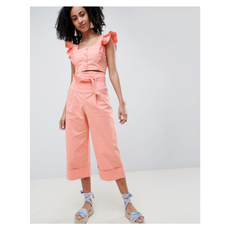 Lost Ink Wide Leg Trousers With Paperbag Waist Co-Ord