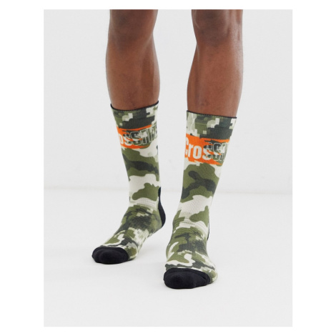 Reebok Crossfit logo camo socks in green