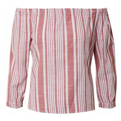 ONLY Bluzka 'ONLLAVANA 3/4 OFF SHOULD STRIPE DNM TOP' biały / czerwony