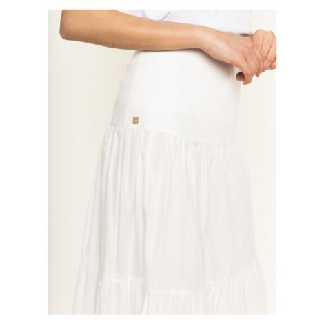 Manila Grace Spódnica trapezowa Gonna Lunga N139CU Biały Regular Fit