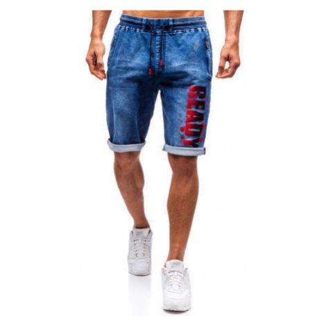 Krótkie spodenki jeansowe męskie granatowo-czerwone Denley HY323 RED FIREBALL