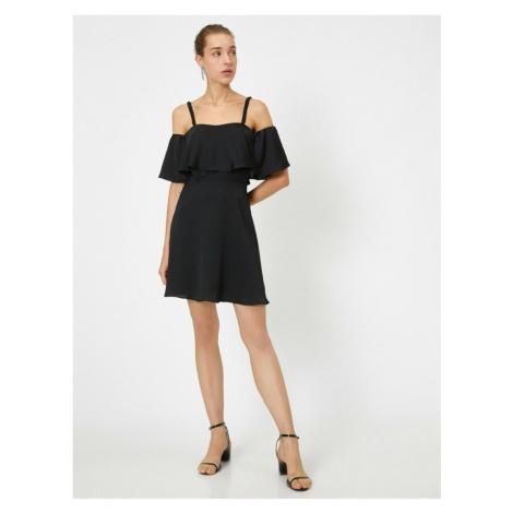 Koton Mini Sukienka Wieczorowa Sukienka Z krótkim rękawem Otwarte Ramię Potargane