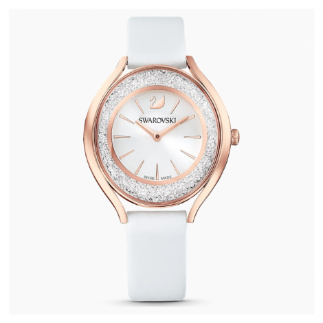 Zegarek Crystalline Aura, pasek ze skóry, biały, powłoka PVD w odcieniu różowego złota Swarovski