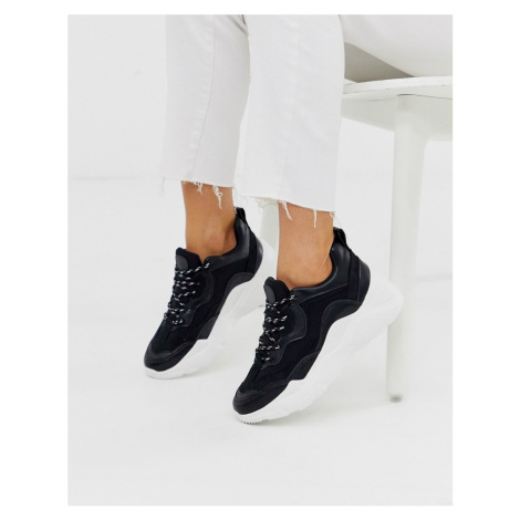 Pull&Bear chunky trainers with contrast sole in black Pull & Bear