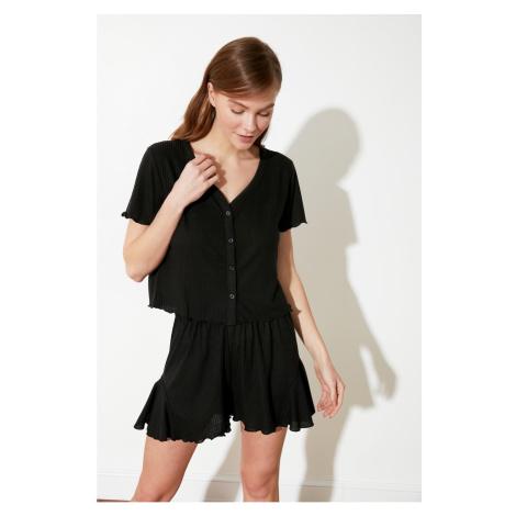 Trendyol Czarny Zestaw piżamy z dzianiny kaszmiru