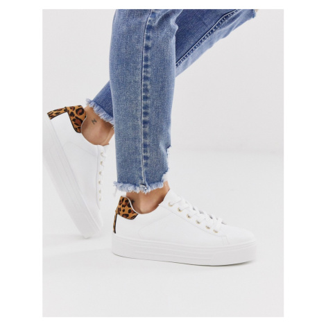 Miss Selfridge flatform trainers with leopard detail in white