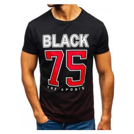 T-shirt męski z nadrukiem czarny Denley 10870 J.STYLE