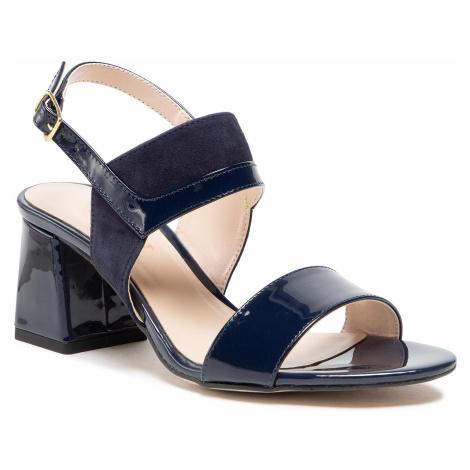 Sandały SAGAN - 4575 Granatowy Lakier/Granatowy Welur