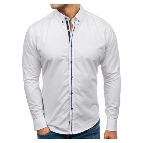 Koszula męska elegancka z długim rękawem biała Bolf 7726