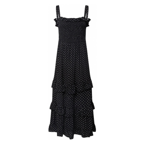 Dorothy Perkins Sukienka 'Spot Frill Shirred Maxi Dress' czarny