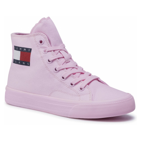 Sneakersy TOMMY JEANS - Mid Cut Lace Up Vulc EN0EN00937 Romantic Pink TOJ Tommy Hilfiger