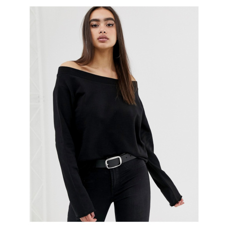 ASOS DESIGN off shoulder sweatshirt with raw edges in black