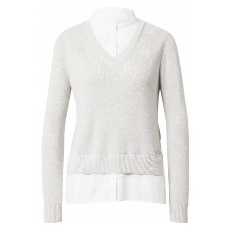 ESPRIT Sweter jasnoszary / biały