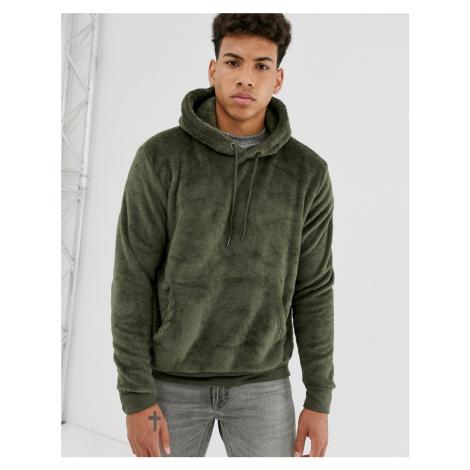 Brave Soul teddy hoodie in khaki
