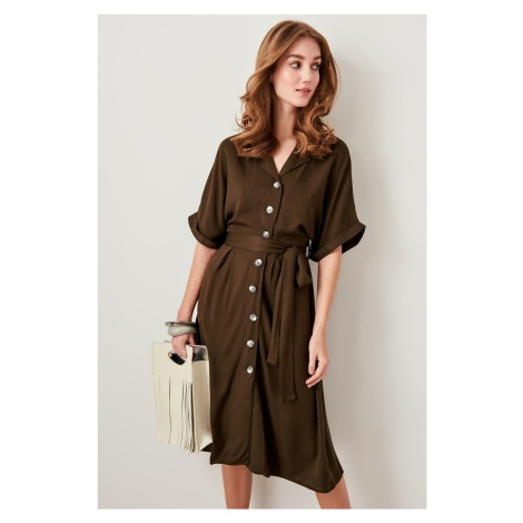 Trendyol Khaki Binding Detailed Dress