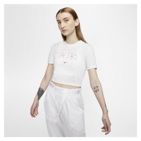 Krótki dopasowany T-shirt damski Nike Sportswear Luxe - Biel