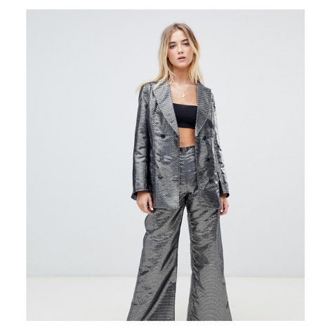 Ebonie n ivory double breasted blazer in metallic jacquard co-ord