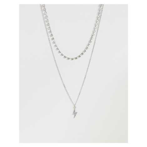 ASOS DESIGN multirow necklace with crystal cupchain and lighting charm in silver tone