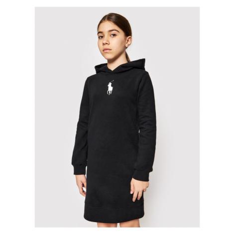 Polo Ralph Lauren Sukienka codzienna Hood Flc Drs 313837221008 Czarny Regular Fit