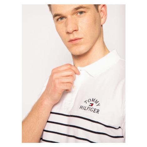 TOMMY HILFIGER Polo Breton Stripe Texture MW0MW13154 Biały Regular Fit