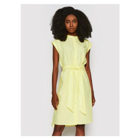 Tommy Hilfiger Sukienka koszulowa Oxford WW0WW30596 Żółty Relaxed Fit