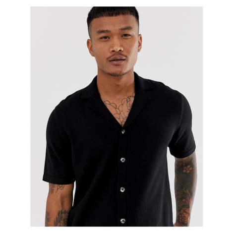ASOS DESIGN knitted revere polo shirt in black